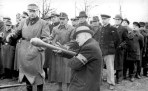 February or March 1945: Volkssturm members being trained to use the Panzerfaust anti-tank weapon.
