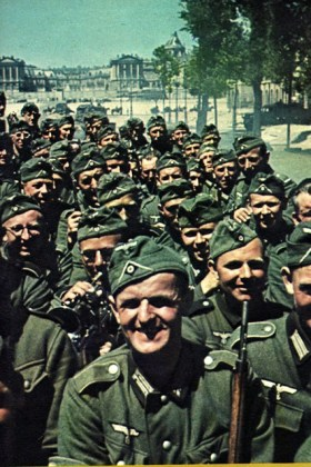 Happy German soldiers visited the Versailles Palace in 1940, shortly after the fall of France and the German-French ceasefire of 22 June 1940.