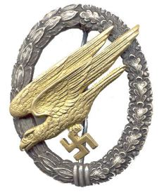 "German Luftwaffe ""Fallschirmjäger"" Paratrooper's badge issued in 1936."