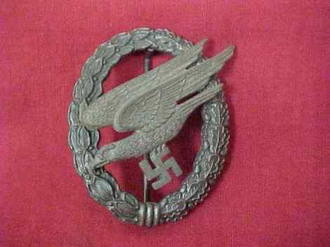 "German Luftwaffe ""Fallschirmjäger"" Paratrooper's badge issued in 1941."