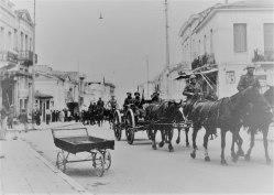 An Italian column passing through Patras, western Greece in May 1941.