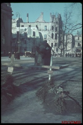 After German bombardment of Poland, citizens of Warsaw buried their dead in parks and streets.