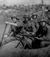 Blue Division members on a raft somewhere close to Leningrad.
