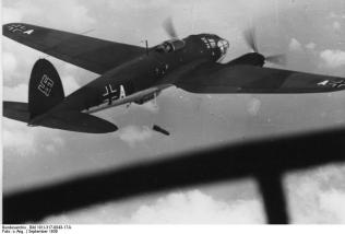 He 111P dropping bombs over Poland, September 1939.