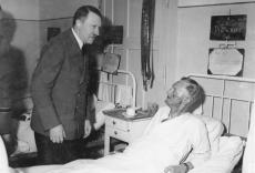 Hitler visiting Puttkamer in the hospital after the failed 20 July plot.