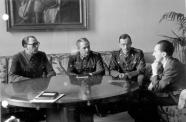Vlasov and General Georgi Zhilenkov (center) meeting Joseph Goebbels, February 1945.