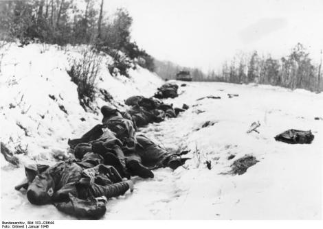 Dead Red Army soldiers in Hungary, January 1945.