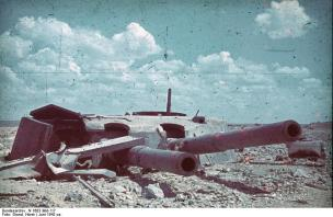 Maxim Gorky I, a fort knocked out of action by five 800 mm shells on 17 June 1942.