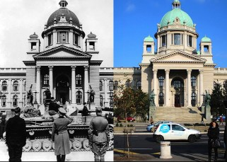 """House of the National Assembly in Belgrade – then and now. After nine SS men from the """"Reich"""" Division used the general confusion and formally captured the Yugoslav capital on 12 April 1941, a victory parade of the true conqueror of the city, the 1st Armoured Group, was held on 13 April at noon. In the (old) photo, tanks of the Panzer-Regiment 15 / 11.Panzer-Division """"Gespensterdivision"""" (Ghost Division) parade in front of their commanders: standing in the centre is Generaloberst Ewald von Kleist (commander of the armoured group), to his right is Generalmajor Ludwig Crüwell (divisional commander), and on the left, in black uniform, is Oberstleutnant Gustav-Adolf Riebel (commander of the division's panzer Regiment)."""