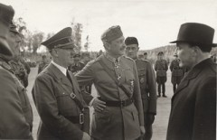Hitler, Marshal Mannerheim (Finnish Army chief) and Finnish President Ryti meet, Imatra — June 1942.