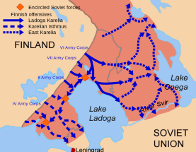 Subphases of the Finnish invasion of Karelia during the 1941 offensive. The old 1939 border marked in grey.