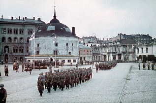Finnish military parade in Viborg on 31 August 1941, after its recapture.