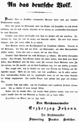 Archduke Johann's proclamation to the German people upon appointment as Administrator of the Realm.