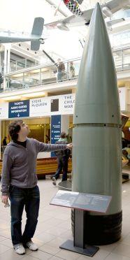 An 800 mm Schwerer Gustav shell at the Imperial War Museum, London.