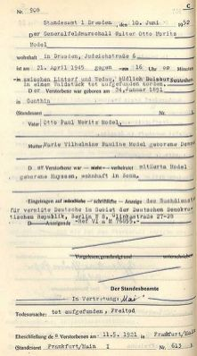 "Death certificate from Dresden, where model was last resident and registered (Leubnitzer road 25), here however with the name sequence ""Walter Otto Moritz""."