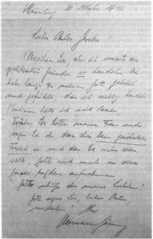 Göring's letter, written four days before his death.