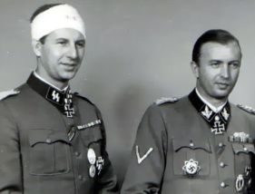 Hermann Fegelein (right) with his wounded brother Waldemar Fegelein.