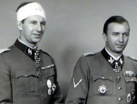 Hermann Fegelein (right) with his wounded brother Waldemar Fegelein.
