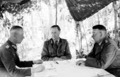 "Werner Kempf (right) during a briefing with Hermann Breith (center) and Walter Chales de Beaulieu (left) during the Operation ""Zitadelle"" near Kursk on June 21, 1943."