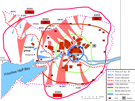 Soviet assault on Königsberg from 6–9 April 1945.