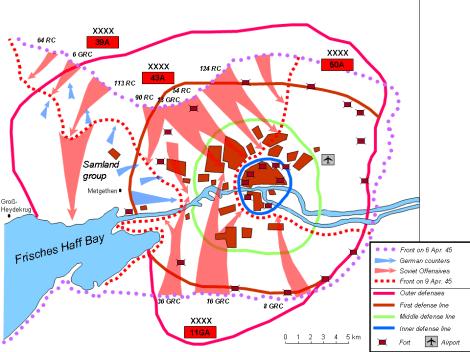 Soviet assault on Königsberg from 6–9 April 1945.