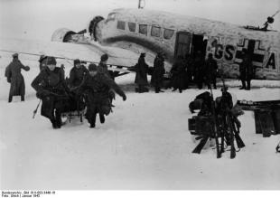 Battle of Demyansk. For four months, the troops were supplied with the Ju 52. Food, ammunition, weapons, and troops. The Ju 52 took the wounded and sick in to the hospital.