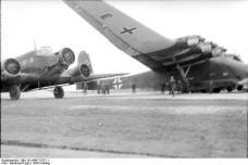 """March 1944. Transport aircraft Junkers Ju 52 and Messerschmitt Me 323 E """"Gigant""""."""