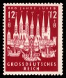 """""""800 Years Lübeck """": The first officially issued German stamp on 24 October 1943 using the designation """"Greater German Reich"""" (issuing country)."""
