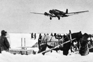 A Ju 52 approaching Stalingrad, 1942.