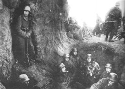 Soldiers of the German 4th Army man positions on the East Prussian border immediately prior to the offensive.