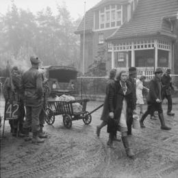 German refugees in Bedburg, near Kleve, 19 February 1945.