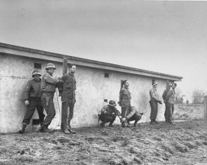 Pernass, Billing, and Schmidt were lined and tied up for execution by firing squad after a U.S. military court found them guilty of espionage. They were captured behind U.S. lines in U.S. uniforms during the Battle of the Bulge.