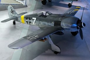 """The Smithsonian's faithfully-restored Fw 190F, showing both forms of Balkenkreuz in """"low-visibility"""" (flanks-only) form."""
