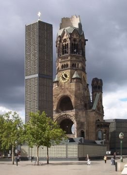 The ruins of the Kaiser Wilhelm Memorial Church in Berlin, heavily damaged in an Allied bombing and preserved as a monument.