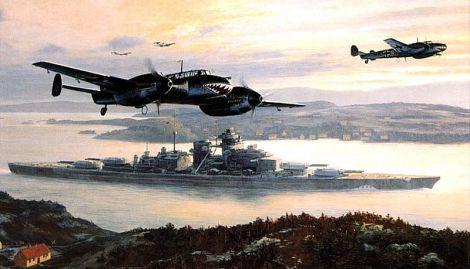In May 1941, the Battleship Bismarck leaves Gotenhafen, Bf 110 serve as escort.