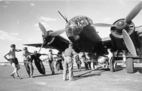 A Ju 188A-3 of Kampfgeschwader 6 being loaded with bombs. Western Europe, 1944 - note differing radiator core layout compared to that on the Ju 88A.