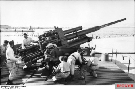 A Flak 38 105 mm anti-aircraft gun at a coastal battery, 1942.