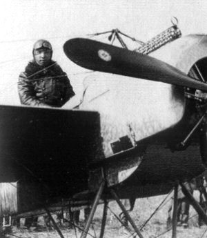 Leutnant Max Immelmann with his first Fokker Eindecker, E.13/15.