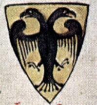 13th-century depiction of the arms of Otto IV (early depiction of a double-headed Reichsadler).