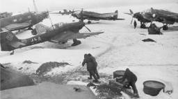 Soviet soldiers at the captured German airfield near Stalingrad, 1943 year.