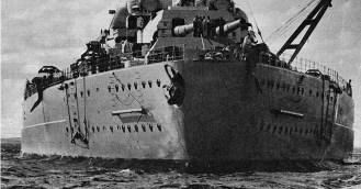 Front Stern of battleship Bismarck.