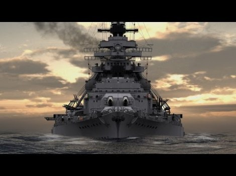 Video game rendition of the Battleship Bismarck.
