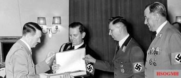 Wilhelm Brückner , Albert Bormann and Julius Schaub (from right) congratulate the Führer on his birthday , April 20, 1939.