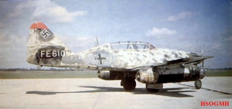 Me 262B-1a/U1 night fighter, Wrknr. 110306, with FuG 218 Neptun antennae in the nose and second seat for a radar operator. This airframe was surrendered to the RAF at Schleswig in May 1945 and taken to the UK for testing.