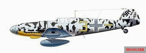 """Rudi Müller's Messerschmidt Bf 109 G-2 / R6 """"Yellow 3"""", Jagdgeschwader 5."""