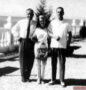 Hans-Ulrich Rudel (left) with Isabel and Juan Perón in Buenos Aires.