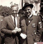 Hans-Ulrich Rudel (left) and Herbert Jaschke at the camaraderie meeting in Neunkirchen near Vienna on May 30, 1960.