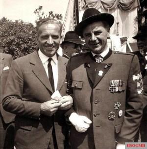 Hans-Ulrich Rudel (left) and Herbert Jaschke at the camaraderie meeting in Neunkirchen near Vienna on May 30, 1960.