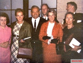 From left to right: Freda Jones, Ursula Rudel, Colonel a. D. Hans-Ulrich Rudel, John Tyndall, Beryl Cheetham, Savitri Devi and Joe Jones, September 1968, Munich.