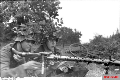 German soldiers with an MG 34 in France, 1944.
